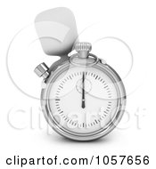 Royalty Free CGI Clip Art Illustration Of A 3d Ivory Man Peeking Behind A Pocket Watch