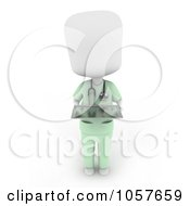 Royalty Free CGI Clip Art Illustration Of A 3d Ivory Surgeon Holding A Tray