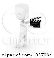Royalty Free CGI Clip Art Illustration Of A 3d Ivory Director Using A Clapper Board