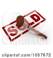 Royalty Free CGI Clip Art Illustration Of A 3d Gavel On A Sold Stamp 2