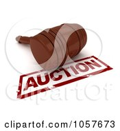 Royalty Free CGI Clip Art Illustration Of A 3d Gavel By An Auction Stamp