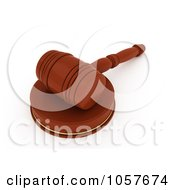 Royalty Free CGI Clip Art Illustration Of A 3d Gavel On A Wooden Sound Block 2