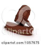 Royalty Free CGI Clip Art Illustration Of A 3d Gavel On A Wooden Sound Block 1