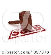 Royalty Free CGI Clip Art Illustration Of A 3d Gavel On A Sold Stamp 1