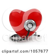 3d Red Heart With A Stethoscope - 1
