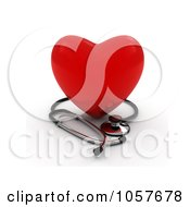 Royalty Free CGI Clip Art Illustration Of A 3d Red Heart With A Stethoscope 2