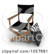 Royalty Free CGI Clip Art Illustration Of A 3d Directors Chair And Clapper Board