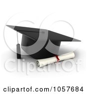 Royalty Free CGI Clip Art Illustration Of A 3d Graduation Cap And Diploma
