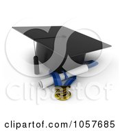 Royalty Free CGI Clip Art Illustration Of A 3d Graduation Cap Over A Medal And Diploma