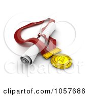 Royalty Free CGI Clip Art Illustration Of A 3d Medal And Diploma
