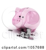 Royalty Free CGI Clip Art Illustration Of A 3d Piggy Bank With Silver Rounds