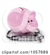 Royalty Free CGI Clip Art Illustration Of A 3d Piggy Bank With A Stethoscope