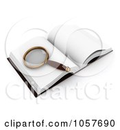 Royalty Free CGI Clip Art Illustration Of A 3d Magnifying Glass On An Open Book by BNP Design Studio