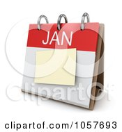 Royalty Free CGI Clip Art Illustration Of A 3d January Calendar by BNP Design Studio