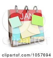 Royalty Free CGI Clip Art Illustration Of A 3d January Calendar With Sticky Notes by BNP Design Studio