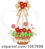Royalty Free Vector Clip Art Illustration Of A Hanging Basket Of Red Tulip Flowers