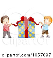 Royalty Free Vector Clip Art Illustration Of Two Kids Opening A Big Gift