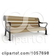 Royalty Free CGI Clip Art Illustration Of A 3d Wooden Park Bench