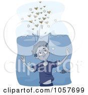 Royalty Free Vector Clip Art Illustration Of Bees Hovering Over Water Above A Boy