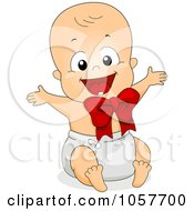 New Year Baby Wearing A Red Ribbon