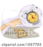 Royalty Free Vector Clip Art Illustration Of An Alarm Going Off By A Hand Over A Mouse Trap