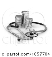 Royalty Free CGI Clip Art Illustration Of A 3d Stethoscop Around Silver Rounds