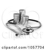 3d Stethoscop Around Silver Rounds