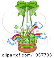 Royalty Free Vector Clip Art Illustration Of A Hanging Basket Of Rainbows And Clovers
