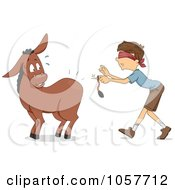 Royalty Free Vector Clip Art Illustration Of A Boy About To Pin A Tail On A Real Donkey