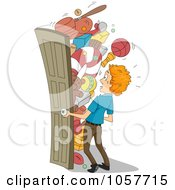 Royalty Free Vector Clip Art Illustration Of A Man Opening A Packed Closet