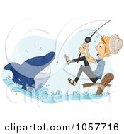Royalty Free Vector Clip Art Illustration Of A Man Reeling In A Shark While Fishing