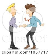 Royalty Free Vector Clip Art Illustration Of A Man Shaking A Fake Hand As It Falls Out Of A Sleeve