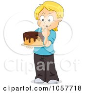 Royalty Free Vector Clip Art Illustration Of A Blond Boy Eating Frosting On A Cake