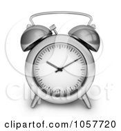 Royalty Free CGI Clip Art Illustration Of A 3d Silver Alarm Clock by BNP Design Studio