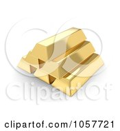 Royalty Free CGI Clip Art Illustration Of A Pyramid Of 3d Gold Bullion Bars