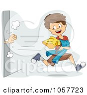 Royalty Free Vector Clip Art Illustration Of A Boy Snagging Clothes From A Dressing Room
