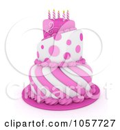 Royalty Free CGI Clip Art Illustration Of A 3d Pink And White Birthday Cake With Spiral Candles