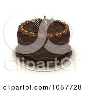Royalty Free CGI Clip Art Illustration Of A 3d Chocolate Birthday Cake With Spiral Candles
