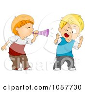 Royalty Free Vector Clip Art Illustration Of A Boy Blowing A Trumpet In Another Boys Ear by BNP Design Studio