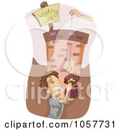 Royalty Free Vector Clip Art Illustration Of A Man Catching Coins At The Bottom Of A Wishing Well by BNP Design Studio