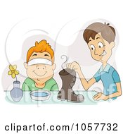 Royalty Free Vector Clip Art Illustration Of A Boy Tricking His Friend Into Smelling A Shoe