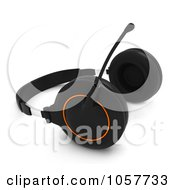 Royalty Free CGI Clip Art Illustration Of A 3d Pair Of Headphones With A Boom