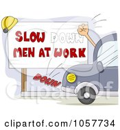 Royalty Free Vector Clip Art Illustration Of A Hand Hitting A Slow Down Men At Work Changing The Wording