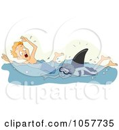 Royalty Free Vector Clip Art Illustration Of A Boy Chasing A Swimmer With A Fake Shark Fin by BNP Design Studio