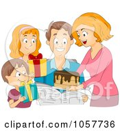 Family Giving A Birthday Cake And Presents To A Man