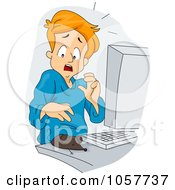 Royalty Free Vector Clip Art Illustration Of A Mouse On A Computer Desk Scaring A Man by BNP Design Studio