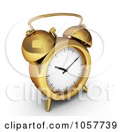 Royalty Free CGI Clip Art Illustration Of A 3d Golden Alarm Clock by BNP Design Studio