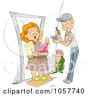 Royalty Free Vector Clip Art Illustration Of A Boy Having A Funny Dress Delivered To His Mom As A Prank