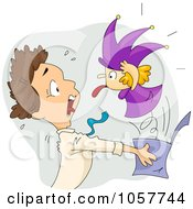 Royalty Free Vector Clip Art Illustration Of A Jack In The Box Scaring A Man by BNP Design Studio