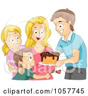 Royalty Free Vector Clip Art Illustration Of A Family Giving A Birthday Cake To A Woman